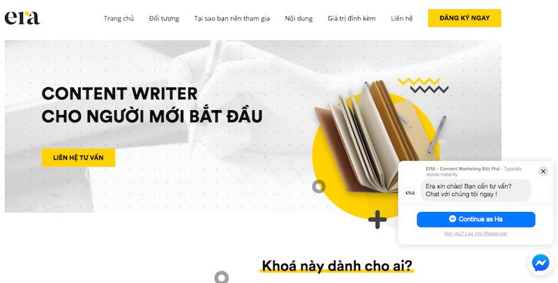Một dạng chatbot trên website ERA
