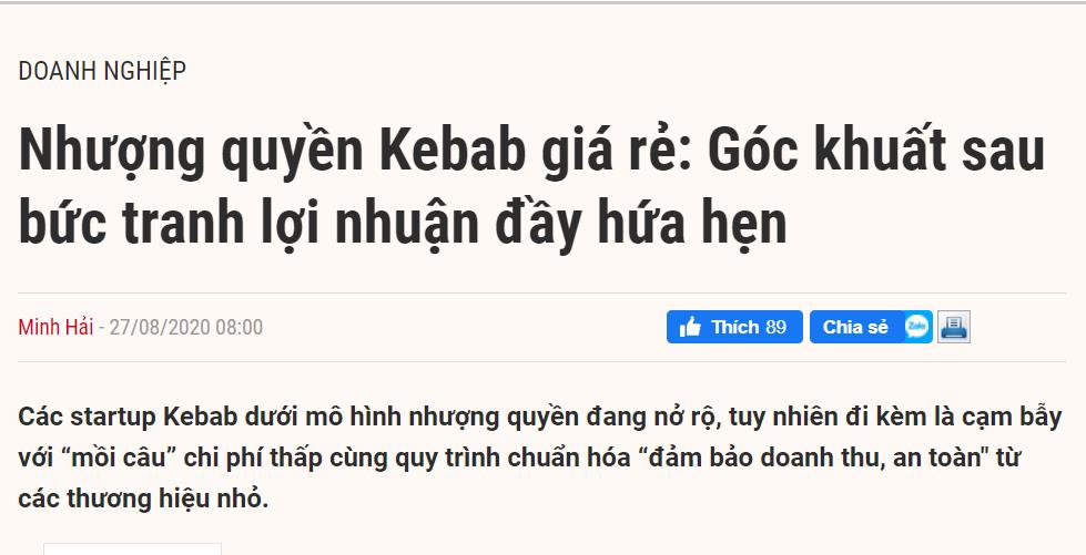 Một bài PR cho thương hiệu Kebab Torki được thực hiện bởi ERA Content Marketing và đăng tải trên trang Báo đầu tư online