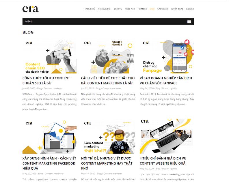 Không chỉ tận tâm với website khách hàng, mà trên trang web của chính mình, ERA cũng dành một sự đầu tư nghiêm túc và đậm chất riêng