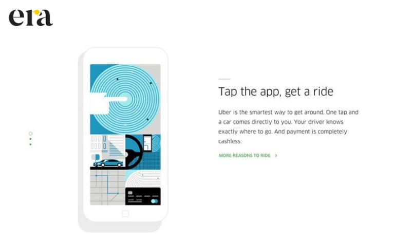 """Thông điệp """"Tap the app, get a ride"""" của Uber"""