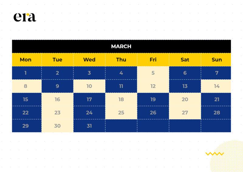 Lịch đăng nội dung tại Fanpage ERA - Content Marketing Đột Phá trong tháng 3/2021